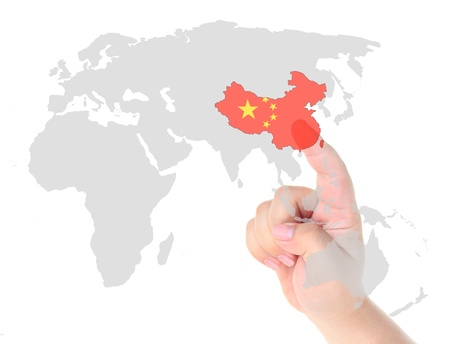 Finger touch on China map flag Stock Photo