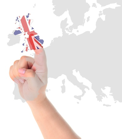 Finger touch on England map flag photo