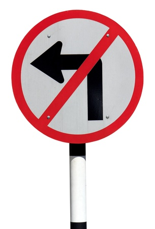 Forbidden turn left traffic sign isolated on white background photo