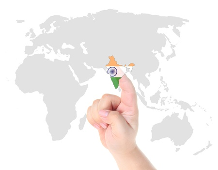 Finger touch on India map flag photo