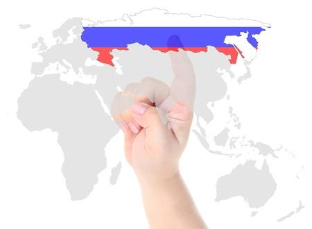 russland karte: Ber�hrung mit dem Finger auf Russland Flagge Karte Lizenzfreie Bilder
