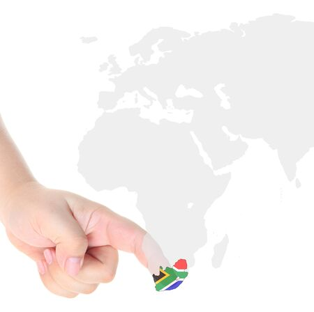 Finger touch on South Africa map flag Stock Photo - 10759986