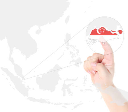 Finger touch on Singapore map flag