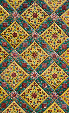Antique thai chinese ceramic tiling wall