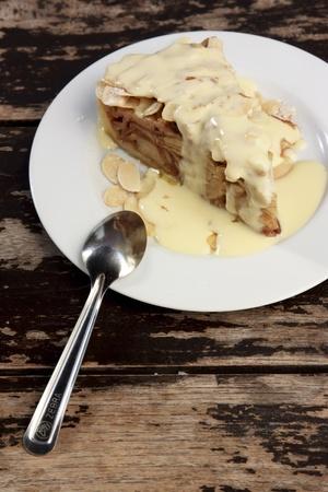 custard slices:  slice of apple crumble cake