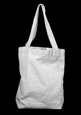 White recycle cotton bag on black Standard-Bild