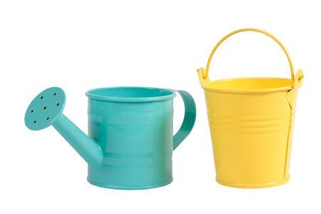watering pot: Green pastel color gardening watering pot and yellow bucket