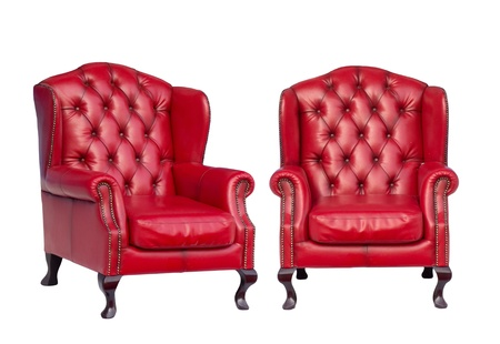antique chair: Luxury vintage red armchair on white background