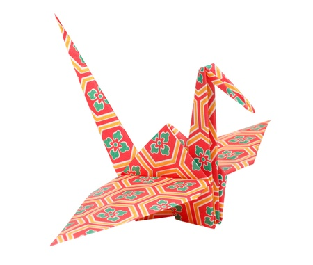 Colorful traditional Japanese origami bird Stock Photo