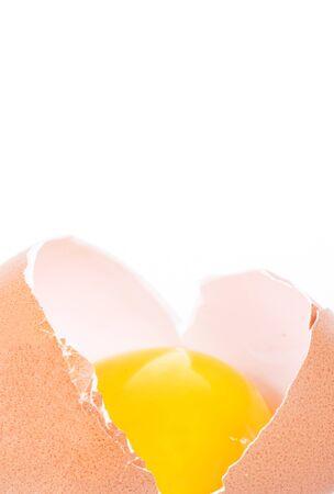 cracked egg look like heart shape isolated on white background photo
