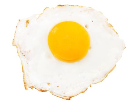 Crispy fried chicken egg isolated on white background photo