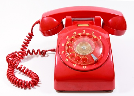 Classic 1970 - 1980 retro dial style red house telephone