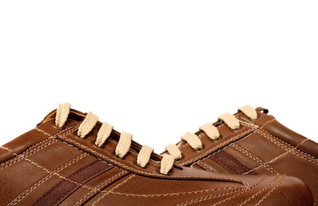 Brown modern leather shoe photo