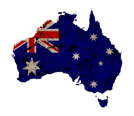 aus: Australia border outline map isolated on white background  Stock Photo