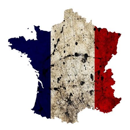 bandera francia: Frontera con Francia esquema del mapa aislado sobre fondo blanco