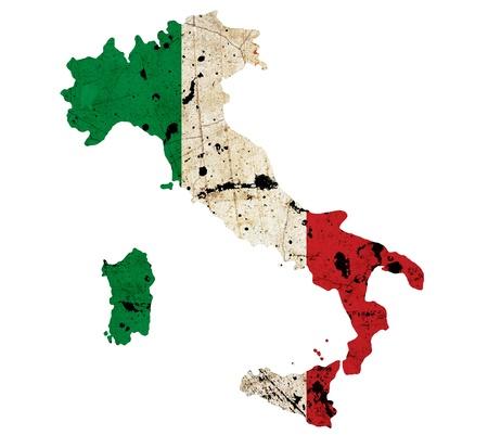 flag italy: La frontera de Italia mapa de contorno aisladas sobre fondo blanco