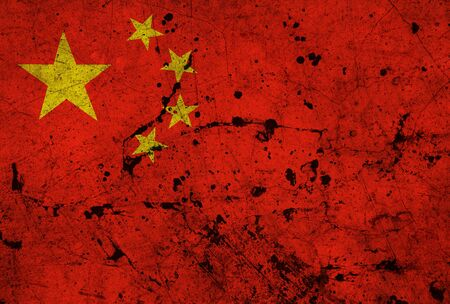 China flag painted on grunge old cement wall photo
