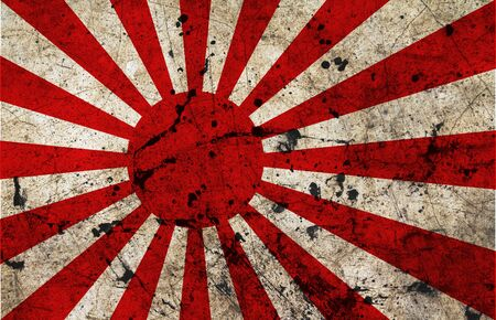 Japan flag painted on grunge old cement wall photo