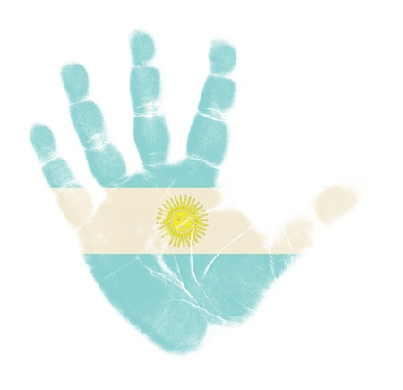 flag of argentina: Bandera de Argentina impresi�n de la palma aisladas sobre fondo blanco