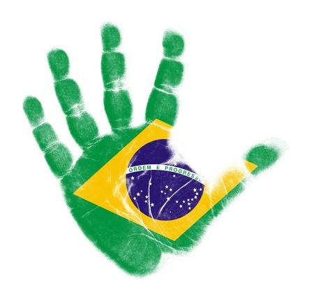 Brazilië vlag handafdruk op een witte achtergrond Stockfoto