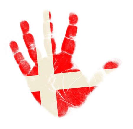 Denmark flag palm print isolated on white background Stock Photo - 12661202