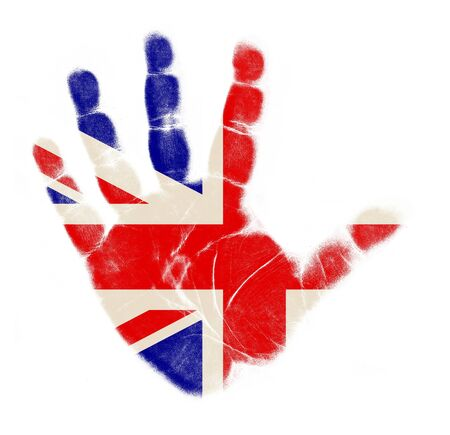 bandera inglaterra: Bandera de Inglaterra impresi�n de la palma aisladas sobre fondo blanco Foto de archivo