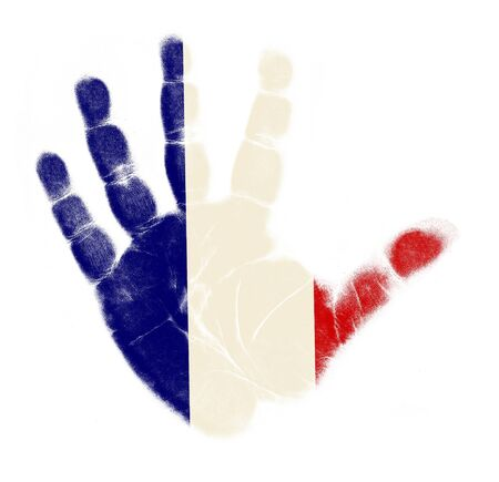 France flag palm print isolated on white background Stock Photo - 12661201