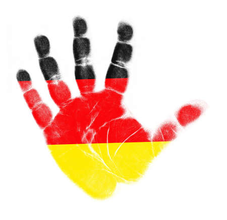 germany flag: Germany flag impronta della mano isolato su sfondo bianco