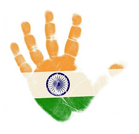 bandera de la india: India flag impresi�n de la palma aisladas sobre fondo blanco