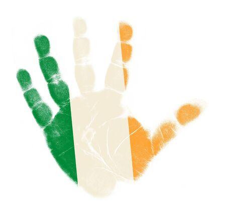Ireland flag palm print isolated on white background Stock Photo - 12661204