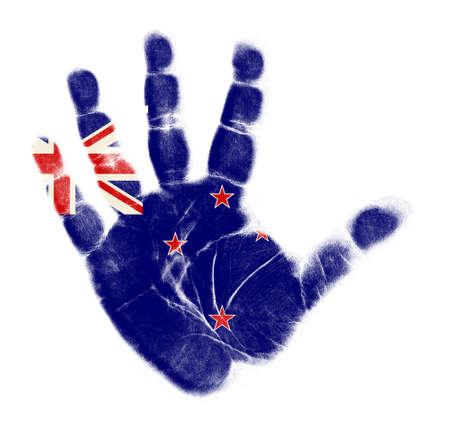 New Zealand flag palm print isolated on white background Stock Photo - 12661215