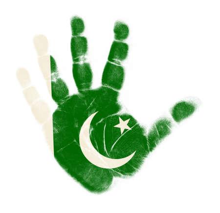 Pakista flag palm print isolated on white background Stock Photo - 12661207