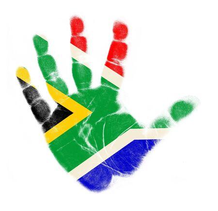 Zuid-Afrika vlag handafdruk op een witte achtergrond Stockfoto