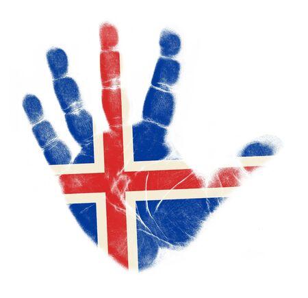 flag of iceland: Islandia bandera de impresi�n de la palma aisladas sobre fondo blanco Foto de archivo