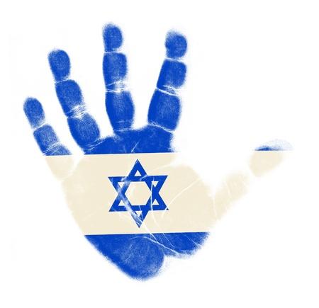 Israel flag palm print isolated on white background Stock Photo - 12661229