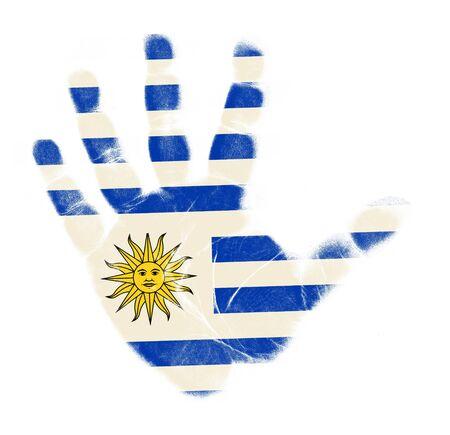 uruguay: Uruguay flag palm print isolated on white background