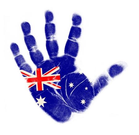 Australia flag palm print isolated on white background