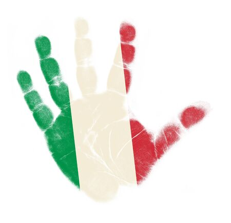 Italy flag palm print isolated on white background