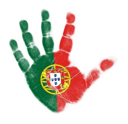 drapeau portugal: Portugal flag palme d'impression isol� sur fond blanc