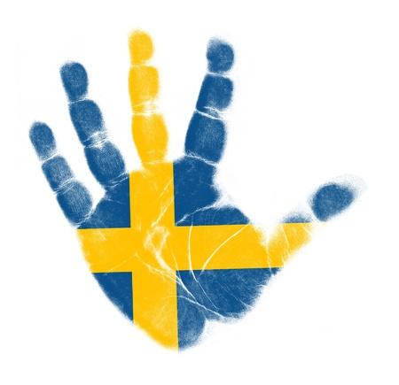 schweden flagge: Schweden-Flagge Handabdruck auf wei�em Hintergrund