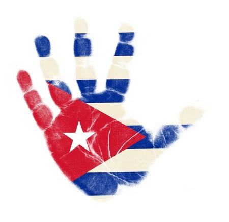 Cuba vlag handafdruk op een witte achtergrond Stockfoto