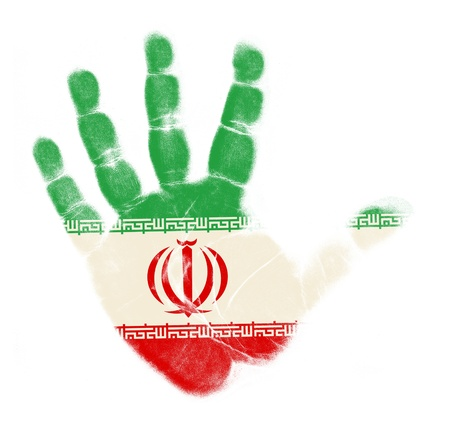 Iran vlag palm afdruk geïsoleerd op witte achtergrond