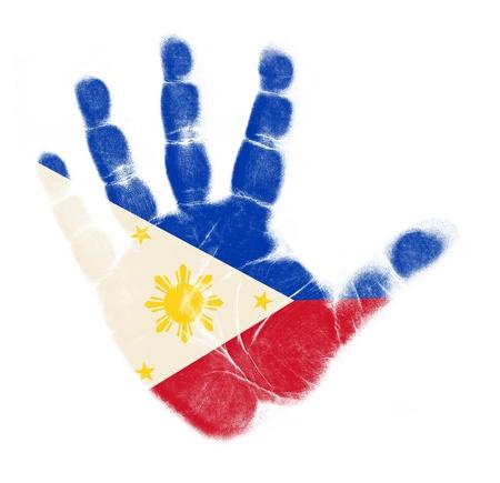Vlag van Filippijnen handafdruk op een witte achtergrond
