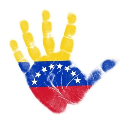 bandera de venezuela: Venezuela bandera de impresi�n de la palma aisladas sobre fondo blanco Foto de archivo