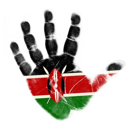 Kenia vlag handafdruk op een witte achtergrond Stockfoto
