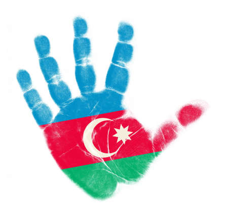 Azerbaijan flag palm print isolated on white background photo