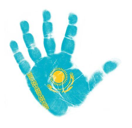 Kazakhstan flag palm print isolated on white background photo