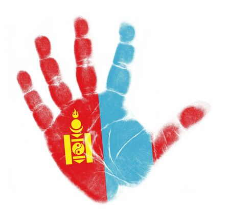 Mongolia flag palm print isolated on white background photo