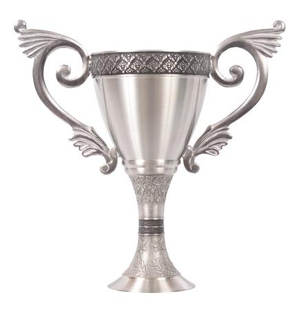Zilver metaal trofee op een witte achtergrond