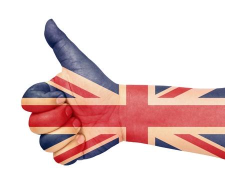 UK flag on thumb up gesture like icon